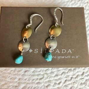 Silpada Brass Sterling and Turquoise Earrings
